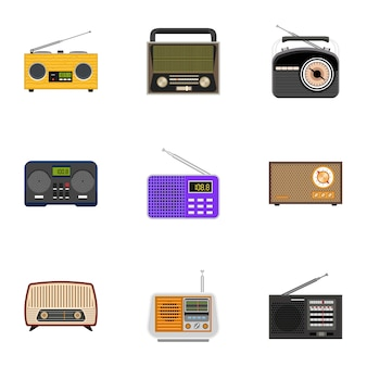 Radio set, estilo plano