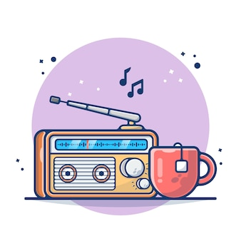 Rádio vintage e chá quente no copo isolado no branco
