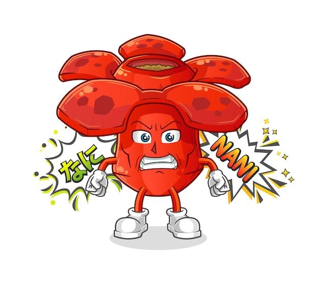 Rafflesia anime com raiva. mascote dos desenhos animados mascote dos desenhos animados