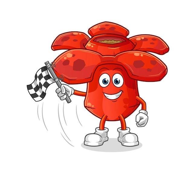 Rafflesia segura bandeira de chegada. mascote mascote dos desenhos animados