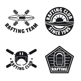 Rafting caiaque canoa conjunto de ícones de logotipo