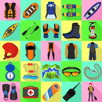 Rafting conjunto de ícones. conjunto plano de vetor de rafting