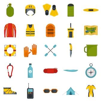 Rafting conjunto de ícones de canoa de água de caiaque