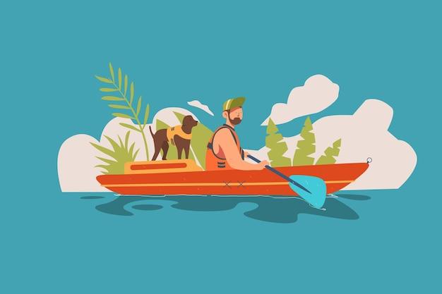 Rafting esporte radical com ilustração de cachorro
