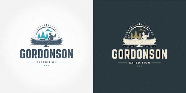 Rafting logotipo emblema vector ilustração aventura ao ar livre expedição barco e homem silhuetas para camisa ou carimbo de impressão. projeto do distintivo de tipografia vintage.