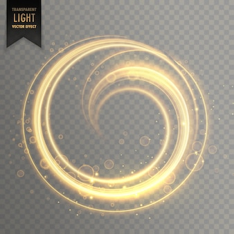 Raia de luz circular em cor dourada