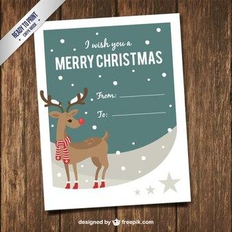 Raindeer com um cartão de natal lenço