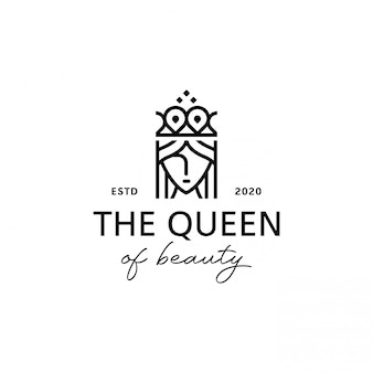 Rainha, coroa, design de logotipo de salão de beleza