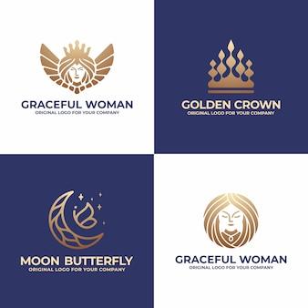 Rainha, coroa, lua, coleção de design de logotipo de mulher