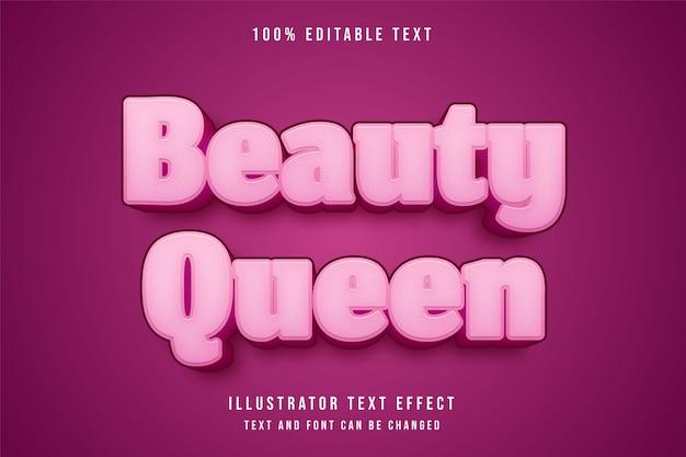 Rainha da beleza, efeito de texto editável em 3d, gradação de rosa efeito bonito