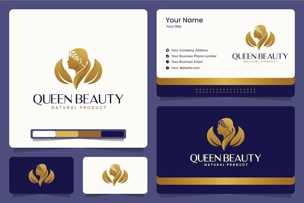 Rainha da beleza, maquiagem, salão, spa, design de logotipo e cartões de visita