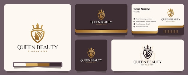 Rainha da beleza, rosto feminino, luxo, coroa, cor dourada, banner e cartão de visita, inspiração para o design de logotipo