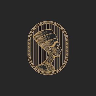 Rainha nefertiti com ilustração vetorial de design de ícone de logotipo de estilo de gravura