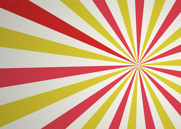 Raio cômico abstrato vermelho e amarelo dos desenhos animados e fundo da luz solar.