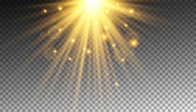 Raio de sol dourado com brilhos ou partícula de ouro luz de brilho