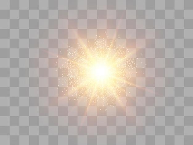 Raio de sol, flash, reflexo de lente, explosão, brilho, estrela.