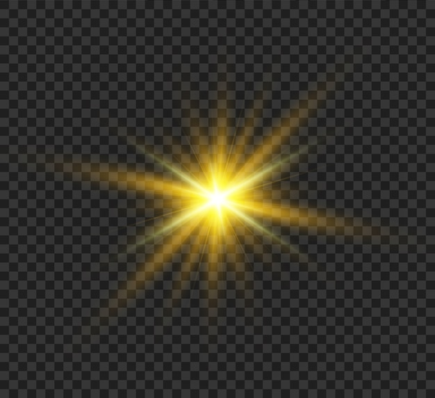 Raio do sol. bela estrela ascendente mágica brilhante com raios brilhantes. gráficos de luz cintilante. Vetor Premium