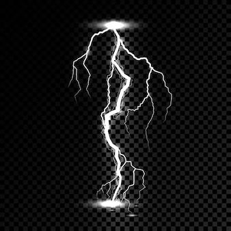 Raio flash faísca de trovão luz. relâmpago ou tempestade de explosão de eletricidade ou raio em fundo transparente