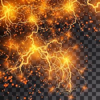Raio flash luz trovão faíscas em um fundo transparente.