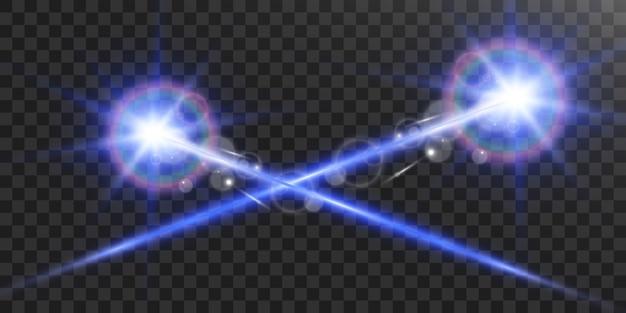 Raio laser em um fundo transparente.