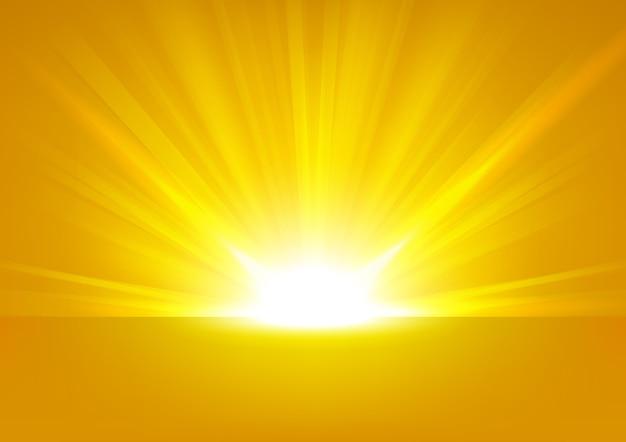 Raios amarelos subindo no fundo brilhante proporção 16: 9