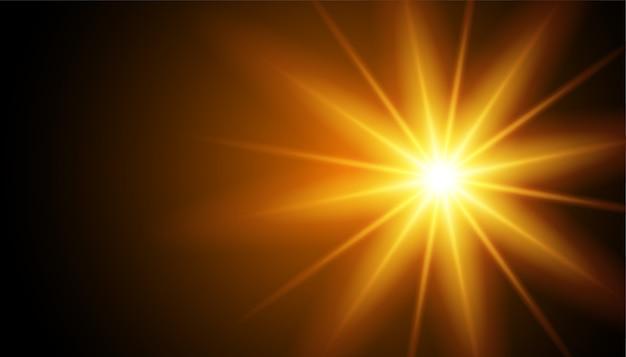 Raios de efeito de luz brilhante no preto