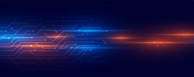 Raios de luz brilhantes com linhas de circuito de tecnologia