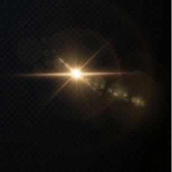 Raios de luz de cor dourada horizontal de luz com brilho e flashes isolados em um fundo transparente.