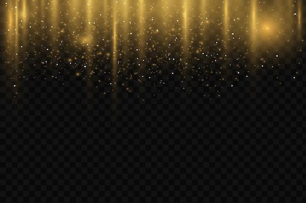 Raios de luz dourados