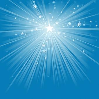 Raios de luz e fundo de estrelas
