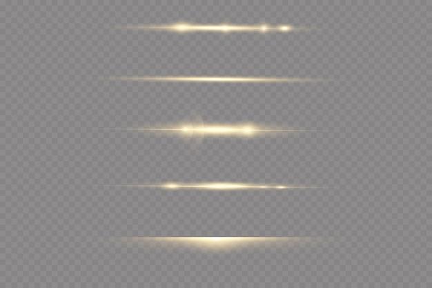 Raios de luz horizontais. conjunto de efeitos de luz de vetor transparente brilhante, faísca, explosão solar