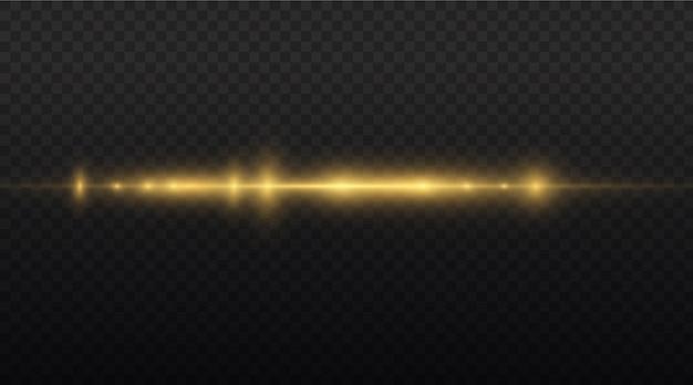 Raios de luz horizontais emitem feixes de laser horizontais amarelos