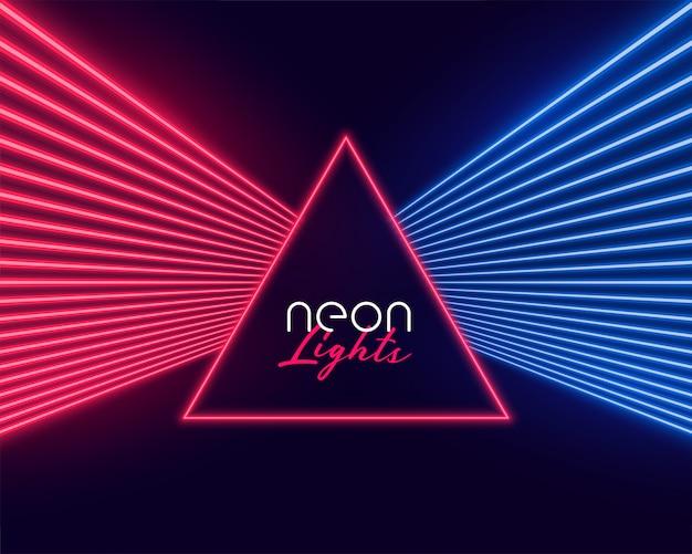 Raios de luz neon nas cores vermelho e azul