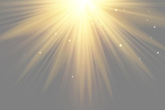 Raios de sol amarelos com reflexos quentes de laranja