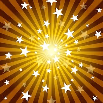 Raios de sol e estrelas de fundo