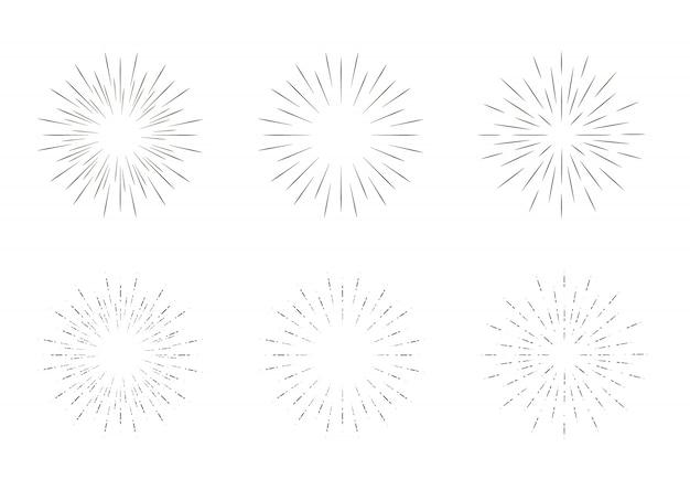 Raios de sol geométricos, estrelas de raio de linhas