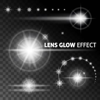Raios e reflexos realistas de lentes piscam luz branca