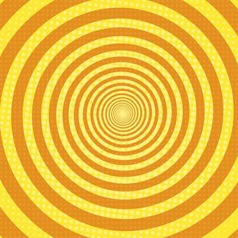Raios em espiral pop art fundo retrô