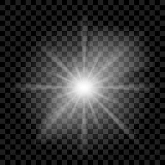 Raios transparentes brilhantes brancos, luz solar, brilho