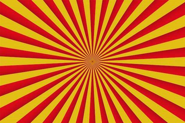 Raios vermelhos e amarelos, poster retro em quadrinhos