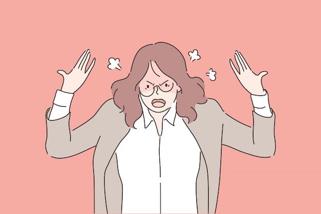 Raiva, agressão, estresse, depressão, colapso nervoso, conceito do negócio