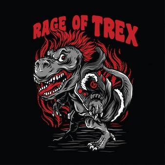 Raiva da ilustração do t-rex