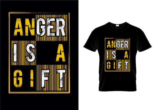Raiva é um presente tipografia t shirt design vector