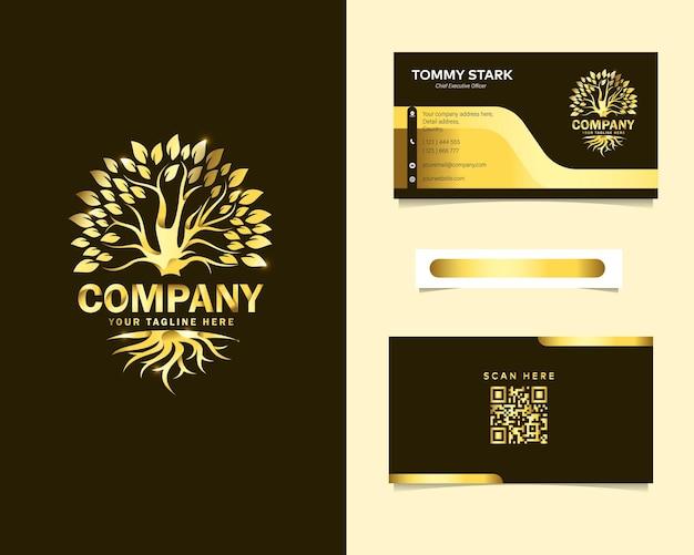 Raiz de luxo e logotipo da árvore com modelo de cartão de visita de papelaria