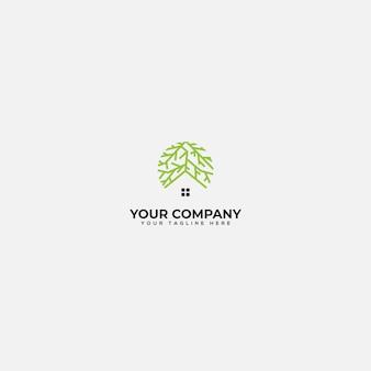 Raiz e logotipo em casa, casa verde e logotipo de raiz