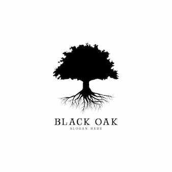 Raízes e logotipo de carvalho preto design ilustração
