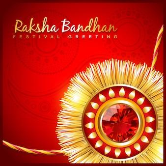 Rakhi do festival hindu bonito sobre fundo vermelho