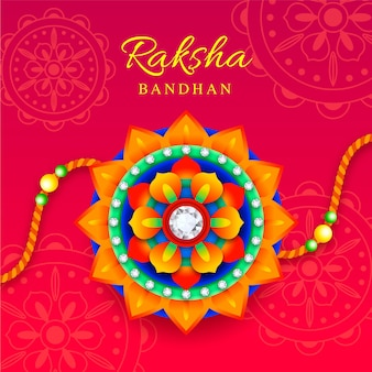 Raksha bandhan com ornamento colorido