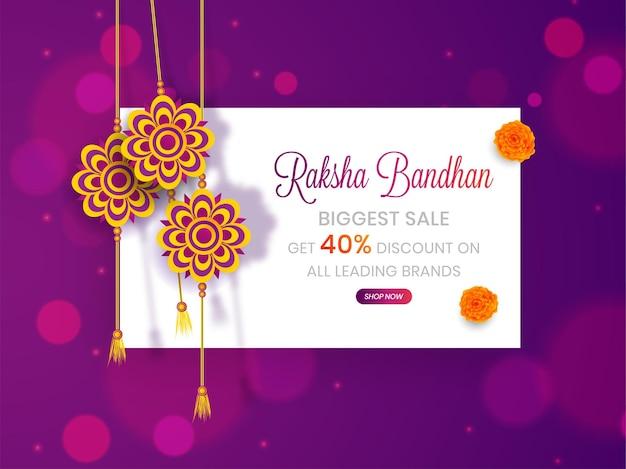 Raksha bandhan maior banner de venda com desconto, pôster ou cabeçalho da web com até 40% de oferta de desconto.