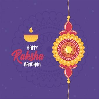 Raksha bandhan, pulseira amor irmãos e irmãs indiano, celebração de letras de vela